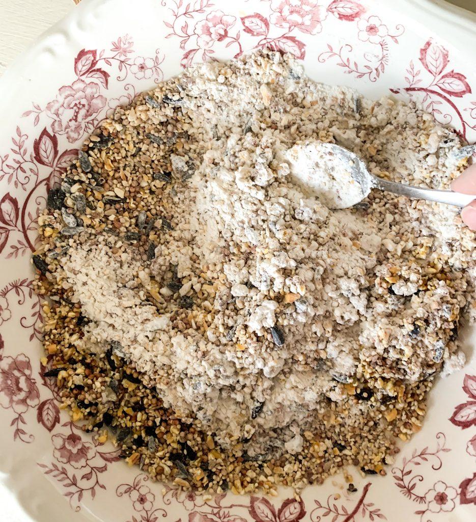 DIY Bird Feeder For Kids: Mixing the ingredients